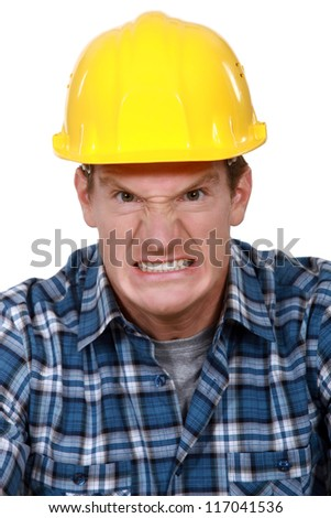 Angry builder - stock photo