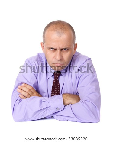 Angry business man isolated on white background - stock photo