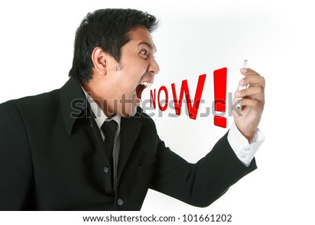 Angry business man screaming on cell mobile phone - stock photo