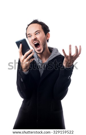 Angry business man screaming on cell mobile phone. isolated on a white background. - stock photo