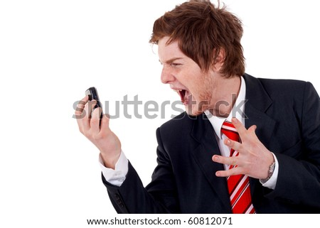angry business man screaming on the phone