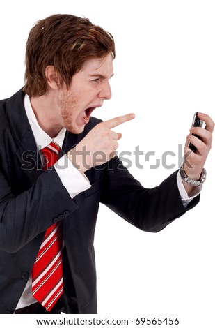 angry business man yelling at mobile phone - stock photo