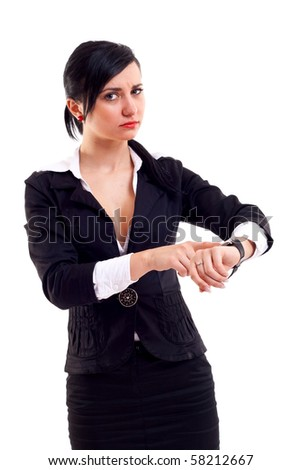 angry business woman pointing her watch over white - stock photo