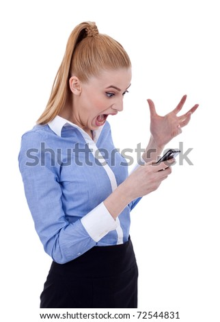 Angry business woman shouting to a mobile phone. Isolated on white - stock photo
