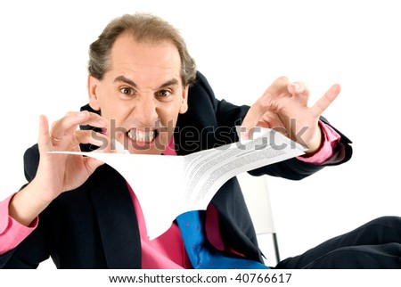 Angry businessman breaking contract on white background. - stock photo