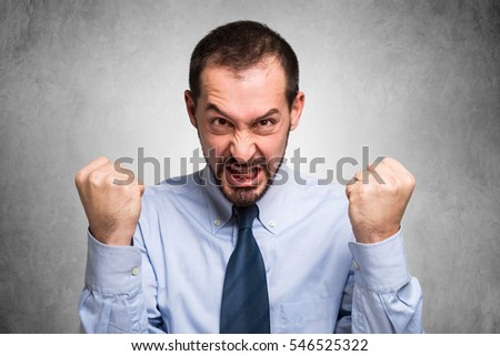 Angry businessman portrait