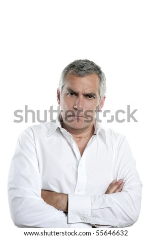 angry businessman senior gray hair serious man isolated on white - stock photo