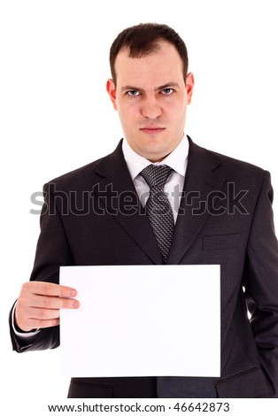 angry businessman show paper, white background