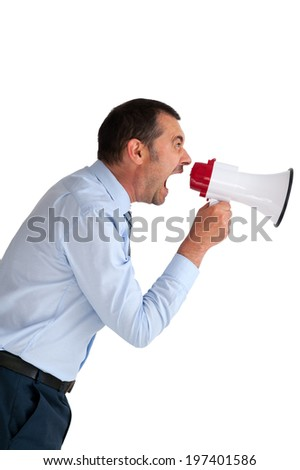 angry businessman with megaphone shouting isolated on white  - stock photo