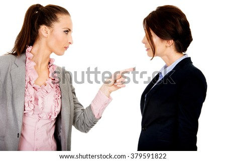 Angry businesswoman accuses her partner.