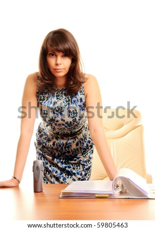 Angry businesswoman isolated over white