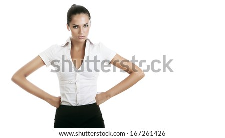 angry businesswoman on white background - stock photo