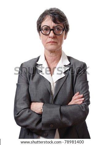 angry businesswoman with glasses isolated on white background - stock photo