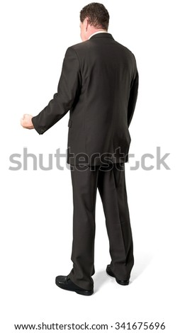 Angry Caucasian elderly man with short medium brown hair in business formal outfit shaking fist - Isolated