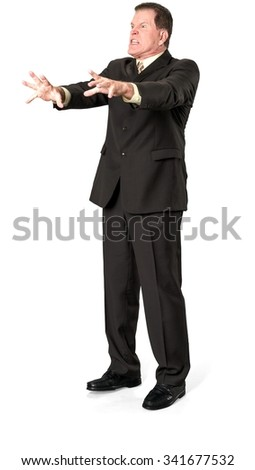Angry Caucasian elderly man with short medium brown hair in business formal outfit talking with hands - Isolated