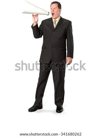 Angry Caucasian elderly man with short medium brown hair in business formal outfit using megaphone - Isolated - stock photo