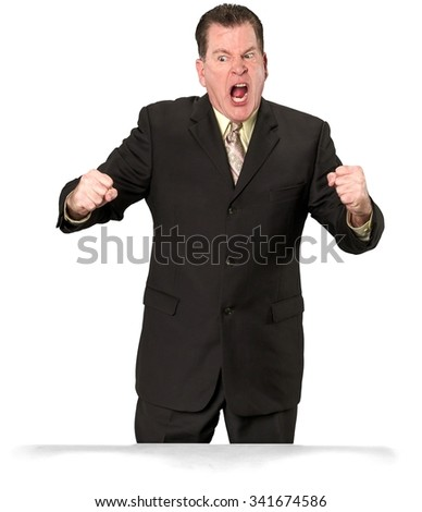Angry Caucasian elderly man with short medium brown hair in business formal outfit with arms open - Isolated