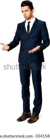 Angry Caucasian man with short dark brown hair in business formal outfit talking with hands - Isolated - stock photo