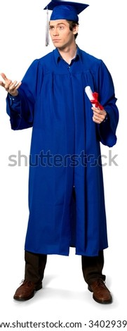 Angry Caucasian man with short dark brown hair in uniform holding diploma - Isolated - stock photo