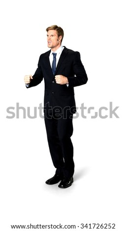Angry Caucasian man with short medium blond hair in business formal outfit arguing with person - Isolated