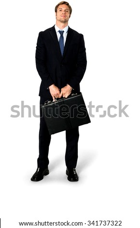 Angry Caucasian man with short medium blond hair in business formal outfit holding briefcase - Isolated