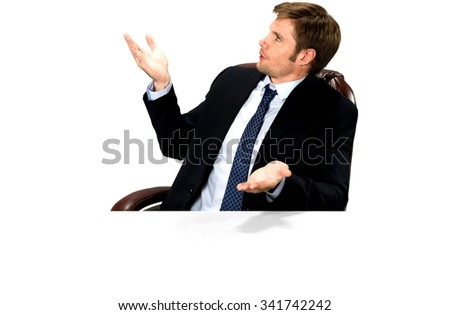 Angry Caucasian man with short medium blond hair in business formal outfit talking with hands - Isolated