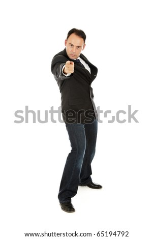 Angry caucasian middle aged businessman pointing with the finger. Studio shot. White background