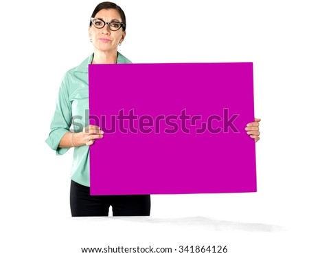 Angry Caucasian woman dark brown in business casual outfit holding large sign - Isolated - stock photo