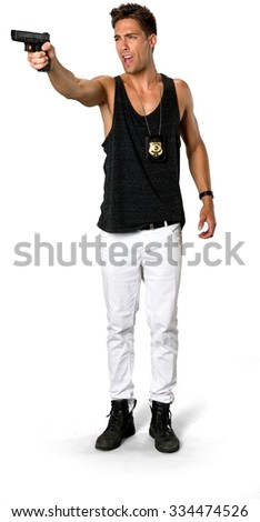 Angry Caucasian young man with short medium brown hair in casual outfit using handgun - Isolated - stock photo