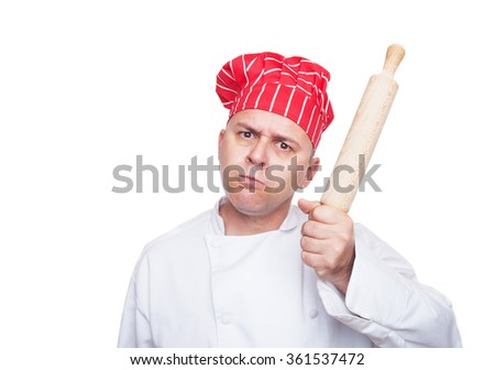 Angry chef with rolling pin isolated on white background