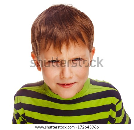 angry child boy blond bully bad aggressive fights in striped green shirt isolated large - stock photo