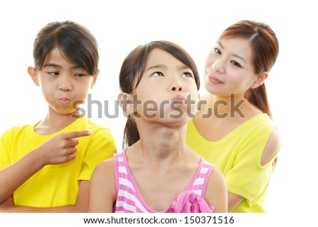 Angry children with mother - stock photo