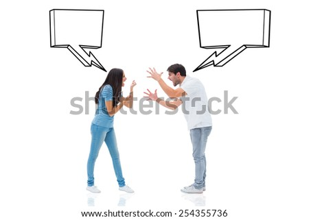 Angry couple shouting at each other against speech bubble - stock photo