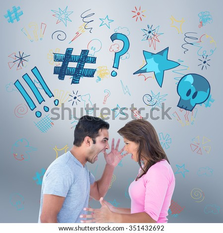 Angry couple shouting during argument against grey vignette - stock photo