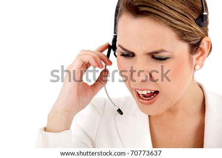 Angry customer support operator - isolated over a white background - stock photo