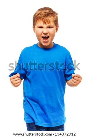 Angry fat boy with screaming expression holding fists standing isolated on white - stock photo