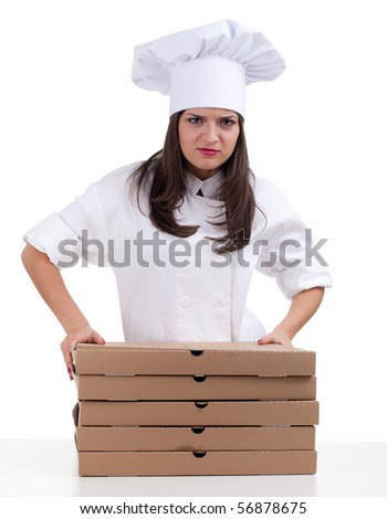 angry female chef in white uniform and hat with boxes of pizza