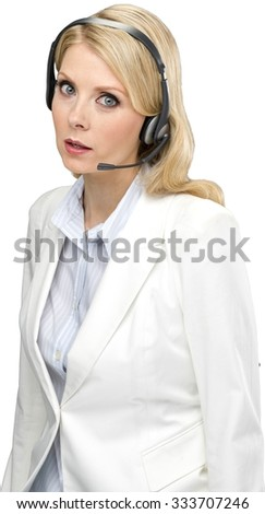 Angry female customer service representative with long light blond hair in business formal outfit talking on headset - Isolated - stock photo