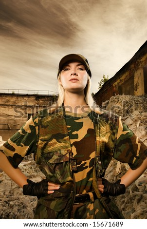 Angry female soldier - stock photo