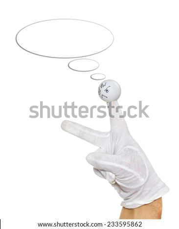 Angry finger puppet with speech bubble isolated over white - stock photo