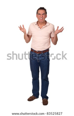 Angry Frowning Man Holding Up Hands in Horror