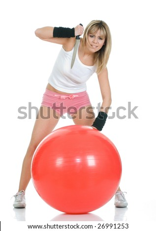 Angry frustrated woman with fit ball disappointed by weight loss. Pilates ball and fitness girl concept - stock photo