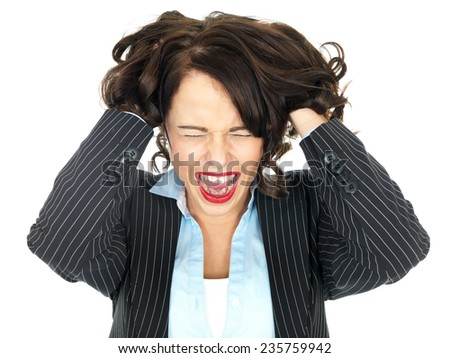 Angry Frustrated Young Business woman - stock photo