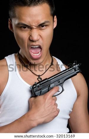 Angry Gang Banger - stock photo