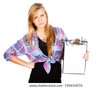 angry girl with a clipboard, white background