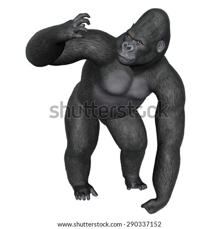 Angry gorilla isolated in white background - 3D render - stock photo