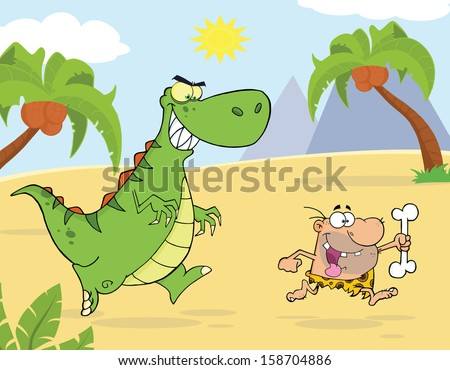 Angry Green Dinosaur Chasing A Caveman. Raster Illustration  - stock photo