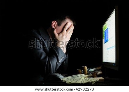 Angry guy in a jacket  with monitor - stock photo