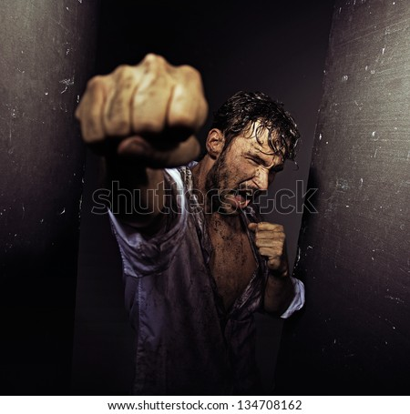 Angry handsome man - stock photo
