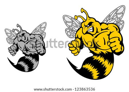 Angry hornet or yellow jacket mascot in cartoon style. Vector version also available in gallery - stock photo
